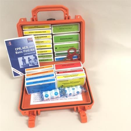waterproof first aid kit in orange pelican case f10111
