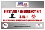 3-in-1 First Aid Kit, CPR Barrier and Bio-Hazard Clean-Up, #F40159S