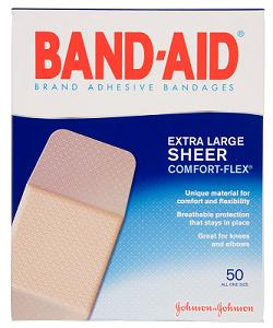 "Johnson & Johnson Adhesive Bandages, Extra Large 2"" x 4½"""