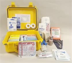 Construction Waterproof First Aid Kit in Yellow Pelican Case #F24-100A