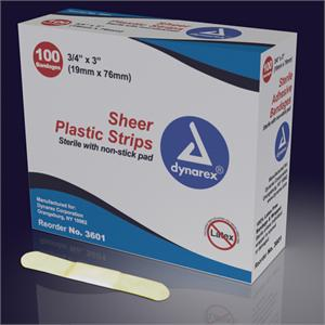 "Sheer Adhesive Bandages, ¾"" x 3"", Box 100"