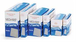 Sterile Gauze Pads, available as Box of 10 pads and Box of 25 pads